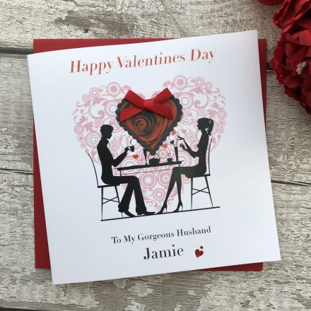 """Handmade Valentines Card """"Couple in Ornate Heart"""""""