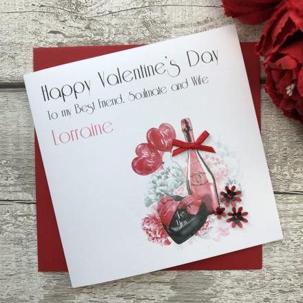 "Handmade Valentines Card ""Champagne"""