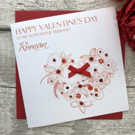 "Handmade Valentines Card ""Floral Heart"""