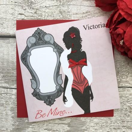 "Handmade Valentines Card ""Sexy Red Basque"""