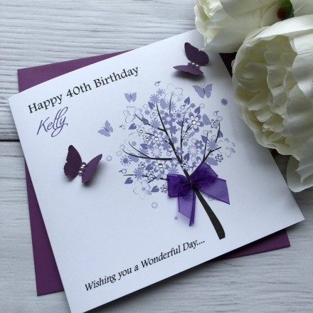 "Handmade Birthday Card ""Flower Tree"""