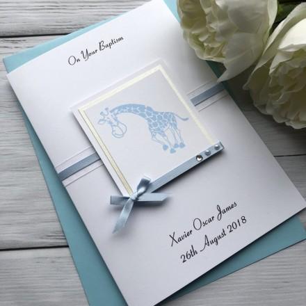 Handmade Christening Card 'Giraffe