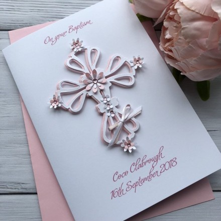 "Handmade Christening Card ""Ornate Floral Cross"""