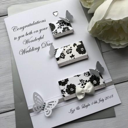 "Luxury Handmade Wedding Card ""Three Tiered Cake"""