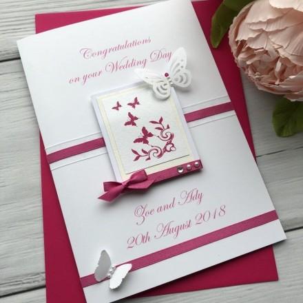 Luxury Handmade Wedding Card 'Butterfly'