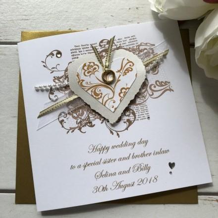 """Handmade Personalised Wedding Card """"Vintage Heart"""""""
