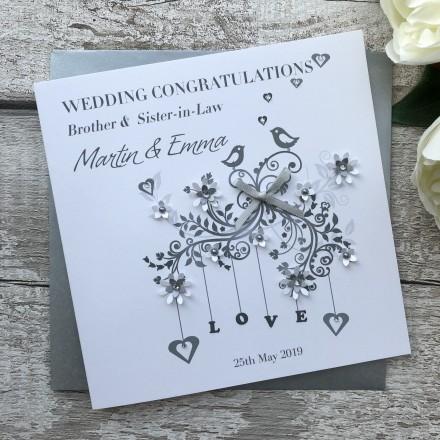 Handmade Personalised Wedding Card 'Love Birds'