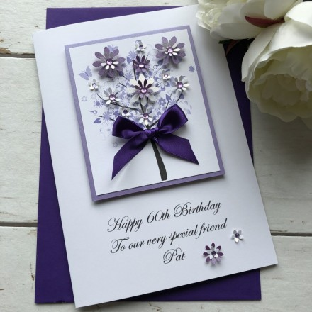 "Luxury Handmade Birthday Card ""Floral Tree"""