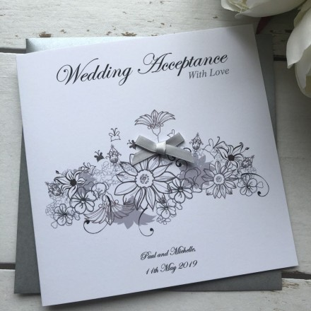 Handmade Wedding Acceptance Card 'Floral'