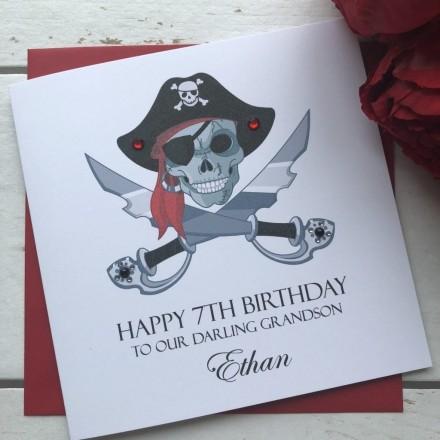 Personalised Handmade Birthday Card 'Pirate Scull'