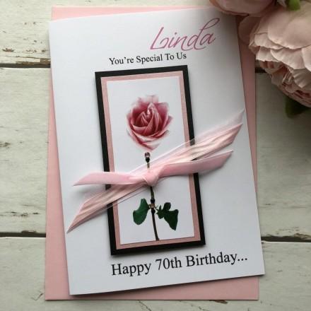 Handmade Birthday Card 'Pink Rose'