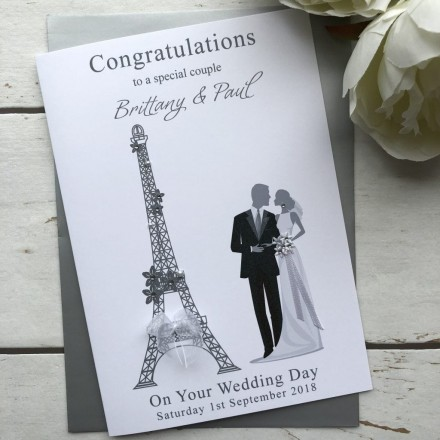 Handmade Wedding Card 'Eiffel Tower'