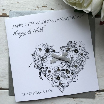 Handmade Silver Wedding Anniversary Card 'Flower Heart'