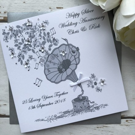 Handmade Silver Wedding Anniversary Card 'Gramophone'