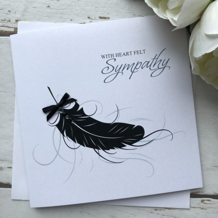 Handmade Sympathy Card 'Feather'