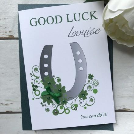 Personalised Handmade Good Luck Card