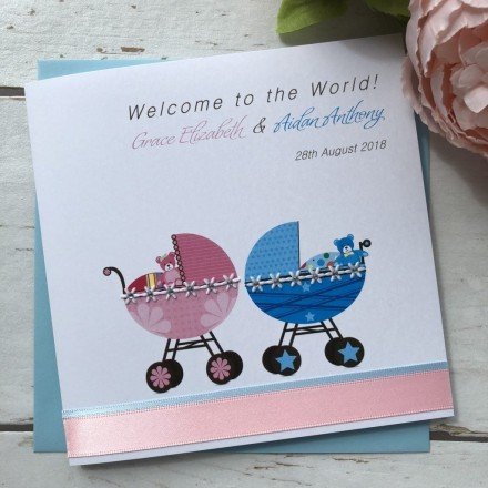 "Handmade New Baby Card ""Pram Twins or Triplets"""