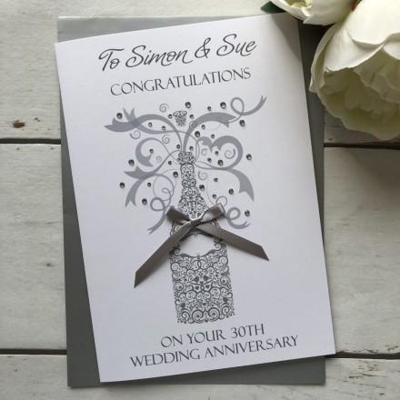 Handmade Wedding Anniversary Card 'Champagne'