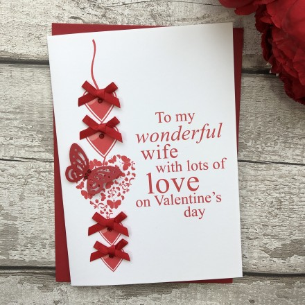 "Handmade Valentines Card ""Heart Chain"""