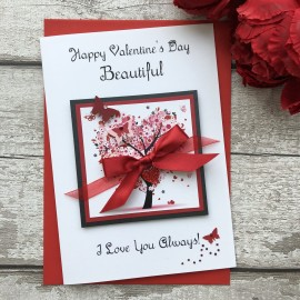 "Handmade Valentines Card ""Floral Heart Tree"""