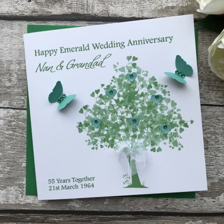 Handmade Emerald Wedding Anniversary Card