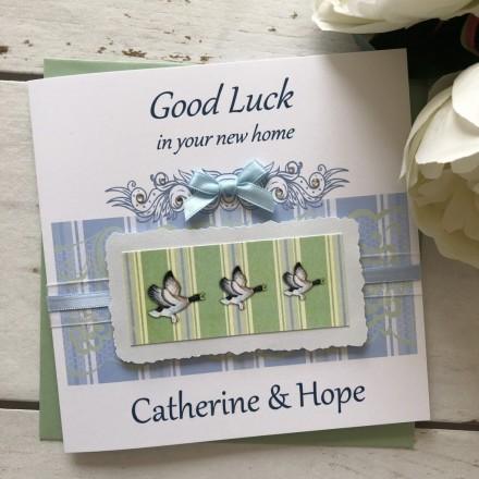 Handmade New Home Card 'Flying Ducks'
