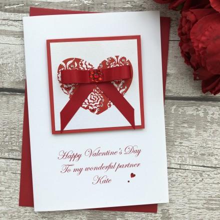 "Handmade Valentines Card ""Bowed Heart"""
