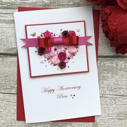 "Handmade Wedding Anniversary Card ""Floral Heart"""