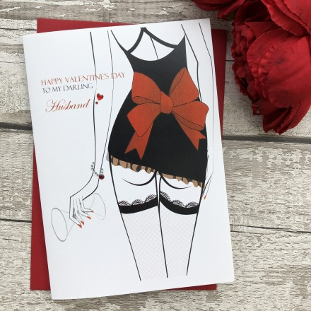 "Handmade Valentines Card ""Sexy Stockinged Lady"""