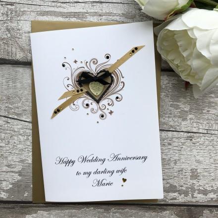 "Luxury Wedding Anniversary Card ""Suede Hearts"""
