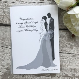 Handmade Personalised Wedding Card 'Bride & Groom'