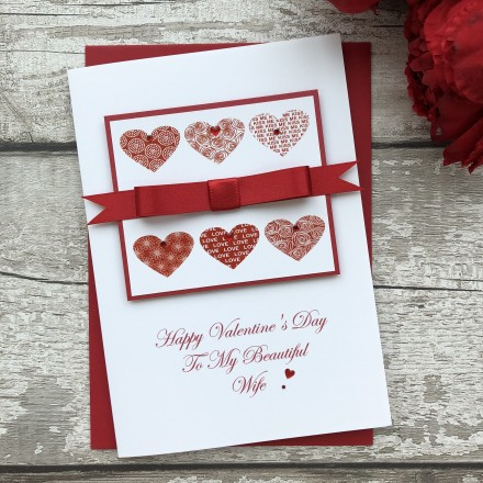 "Handmade Valentines Card ""Stylish Hearts"""