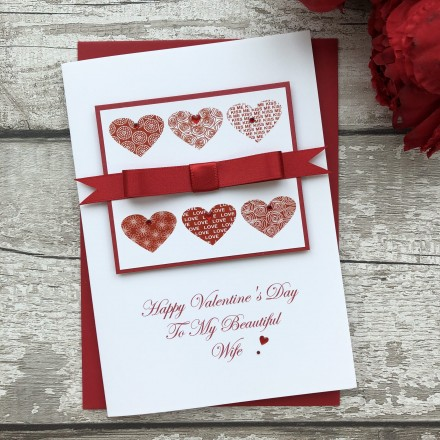 "Handmade Valentines Card ""Stylish Hearts"""