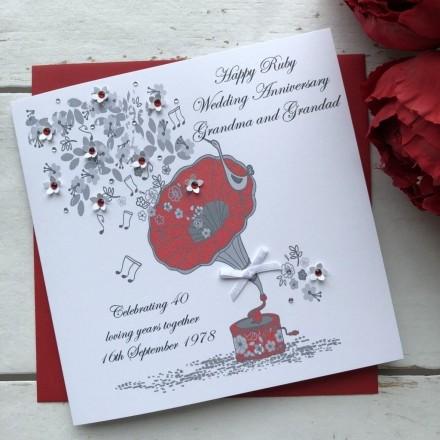 Handmade Ruby Wedding Anniversary Card 'Ruby'
