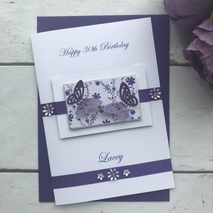 Luxury Handmade Birthday Card 'Butterflies'