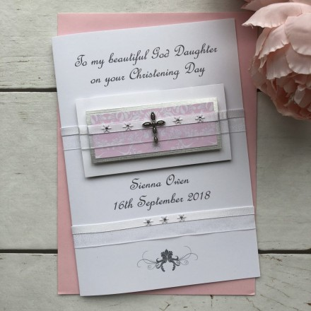 "Handmade Christening Card ""Diamante Cross"""