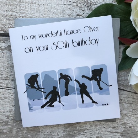 Handmade Birthday Card 'Winter Sports'