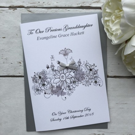 Personalised Handmade Christening Card 'Floral'