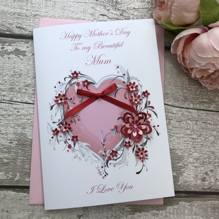 """Handmade Mother's Day Card """"Pink Heart"""""""