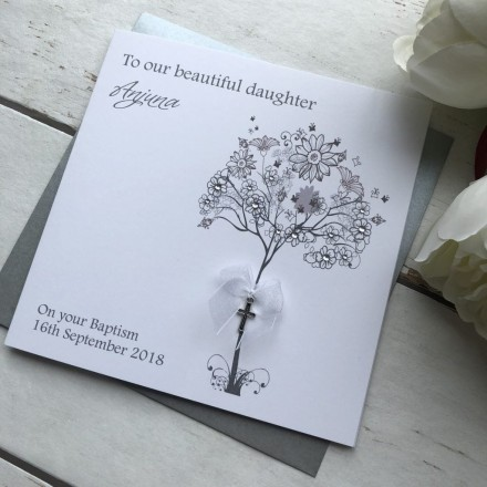 Handmade Christening Card 'Flower Tree'