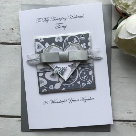 Luxury Silver Wedding Anniversary Card