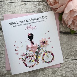 """Handmade Mother's Day Card """"Floral Bike"""""""