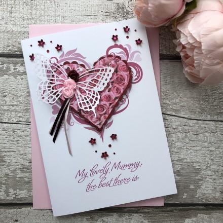 """Luxury Handmade Mother's Day Card """"Rosebud Heart"""""""