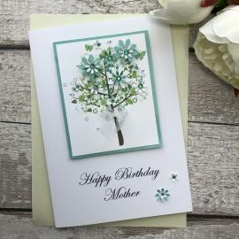 Luxury Handmade Birthday Card 'Floral Tree'