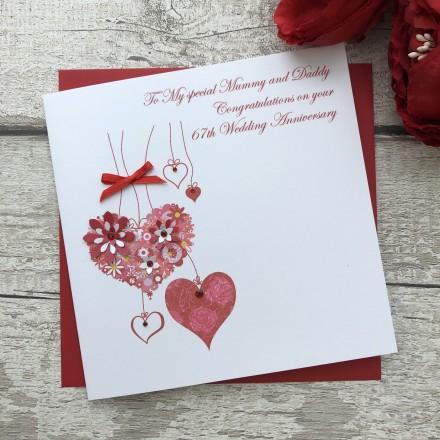 Handmade Wedding Anniversary Card 'Hanging Hearts'
