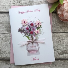 """Handmade Mother's Day Card """"Pink Flowers"""""""