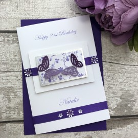 Luxury Handmade Birthday Card 'Butterflies'