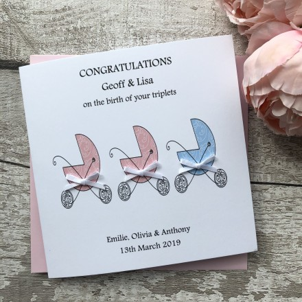Handmade New Baby Card 'Twins' 'Triplets'