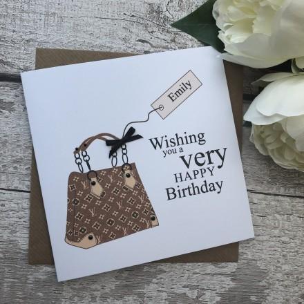 Handmade Birthday Card 'Designer Bag'