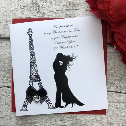 Handmade Engagement Card 'Eiffel Tower'